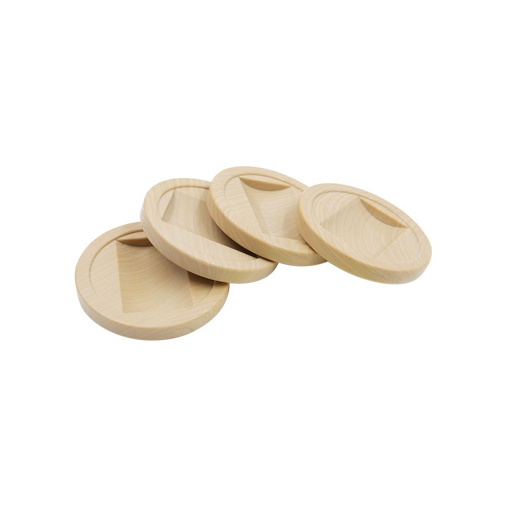 Everbilt 2-1/4 in. Wood Grain Plastic and PVC Furniture Cup (4-Pack)