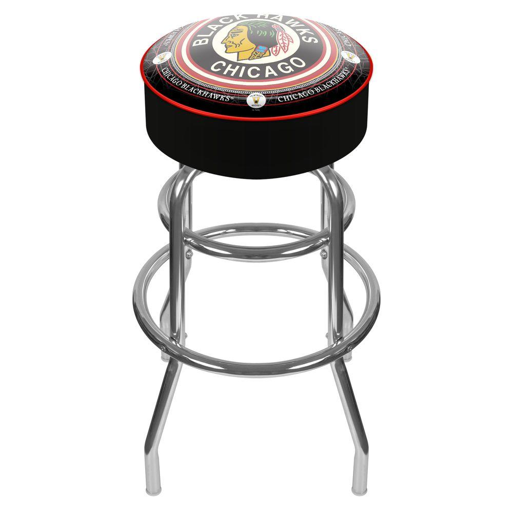 NHL Throwback Chicago Blackhawks 31 in. Chrome Padded Swivel Bar Stool