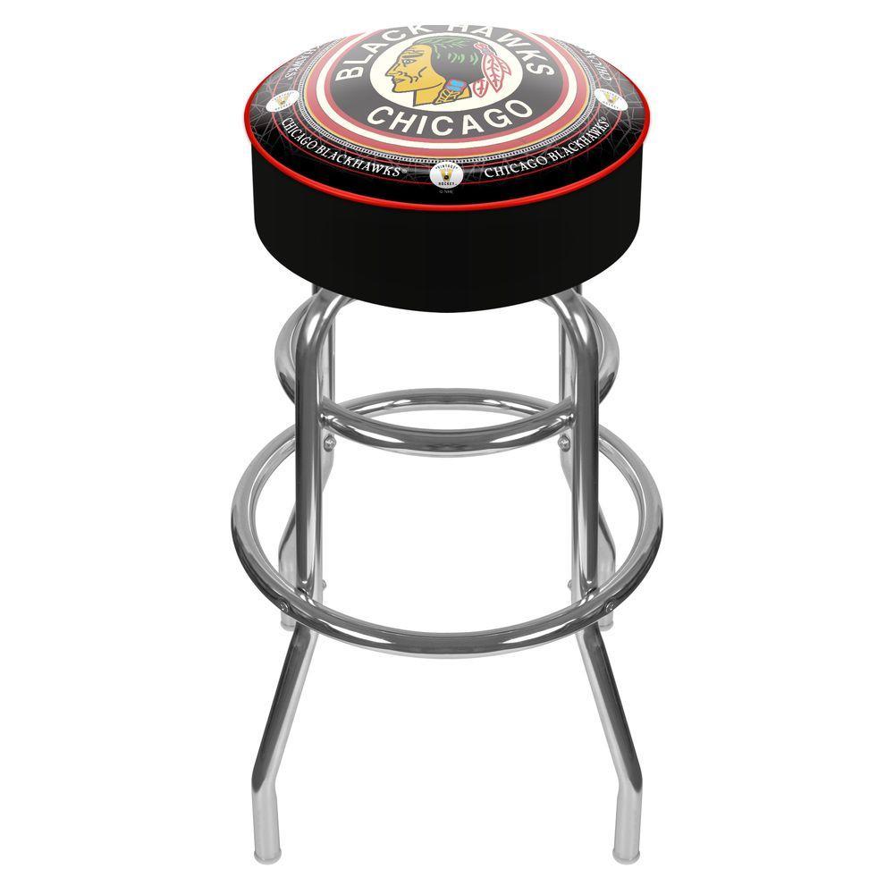 NHL Throwback Chicago Blackhawks 31 in. Chrome Padded Swivel Bar Stool