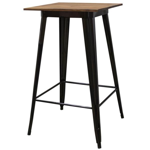 24 in. x 24 in. Pub-Height Black Table with Sheesham Top