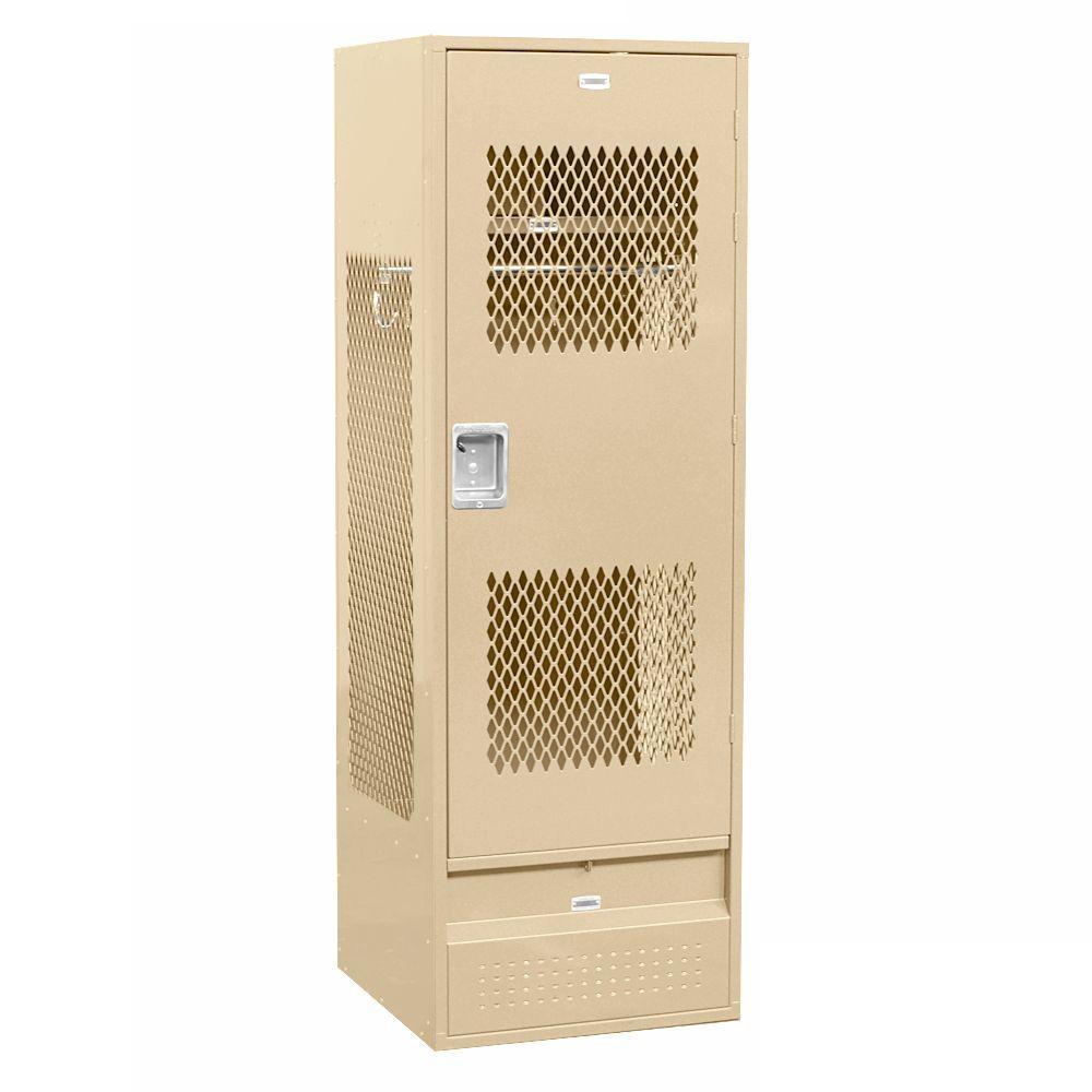 72000 Series 24 in. W x 72 in. H x 24 in. D Gear Metal Locker with Ventilated Door Unassembled in Tan