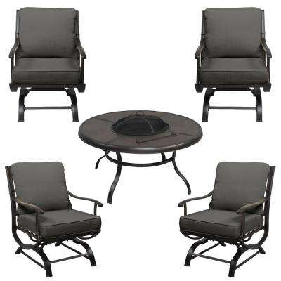 Redwood Valley Black 5-Piece Steel Outdoor Patio Fire Pit Seating Set with CushionGuard Graphite Dark Gray Cushions
