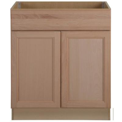 Easthaven Shaker Assembled 30x34.5x24 in. Frameless Sink Base Cabinet with False Drawer Front in Unfinished Beech