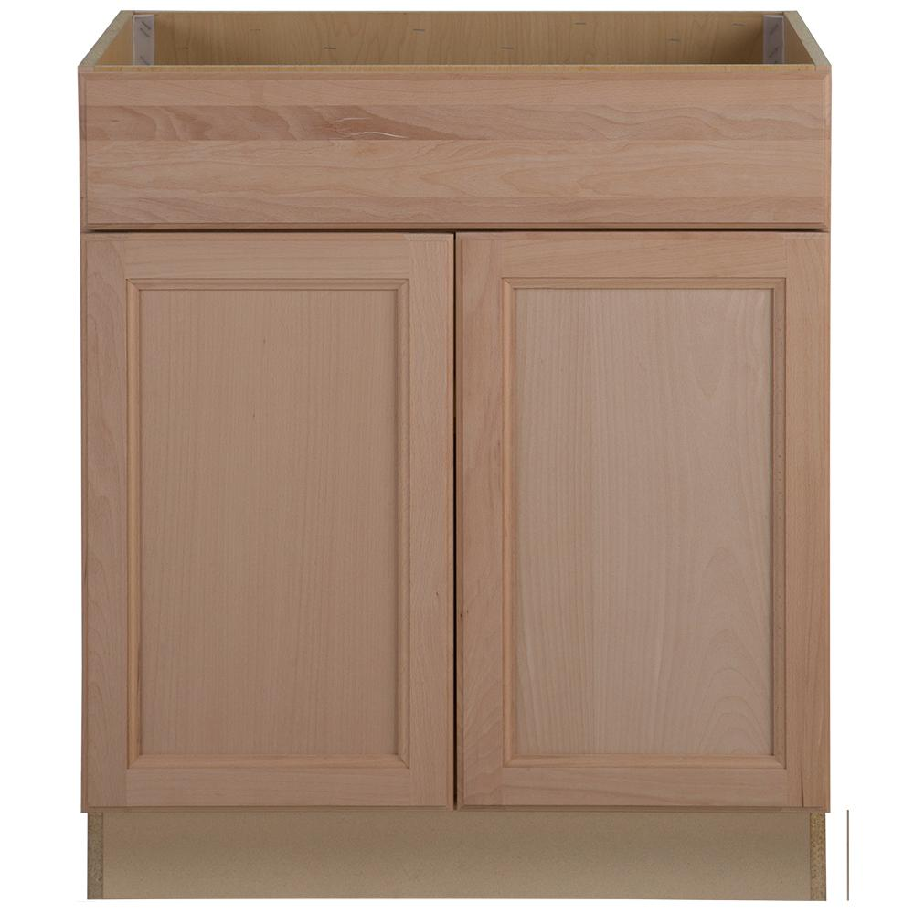 Beau Hampton Bay Assembled 30x34.5x24 In. Easthaven Sink Base Cabinet With False  Drawer Front