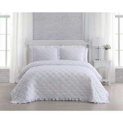 Melody White King Quilt Set (3-piece)
