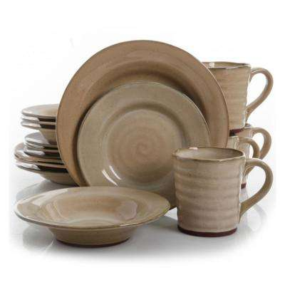 Mariani 16-Piece Taupe Dinnerware Set