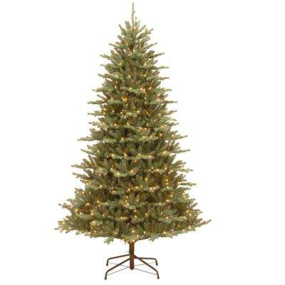 7-1/2 ft. Feel Real Asbury Blue Spruce Hinged Artificial Christmas Tree with 550 Clear Lights