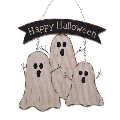 16.55 in. H Wooden Ghost Wall Decor