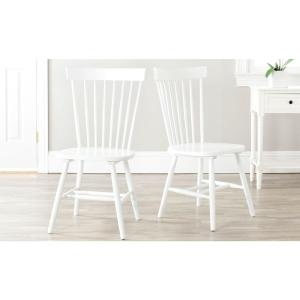 Safavieh Riley White Wood Dining Chair Set Of 2 Amh8500a