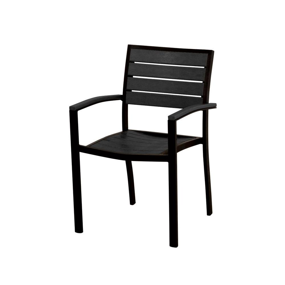 Euro Textured Black All-Weather Aluminum/Plastic Outdoor Dining Arm Chair in