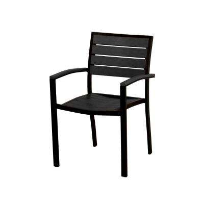 Euro Textured Black All-Weather Aluminum/Plastic Outdoor Dining Arm Chair in Black Slats