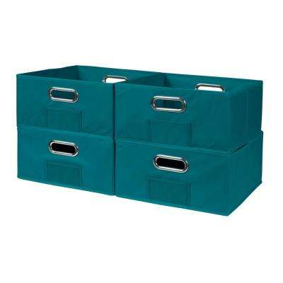 Cubo 12 in. x 6 in. Teal Folding Fabric Bin (4-Pack)