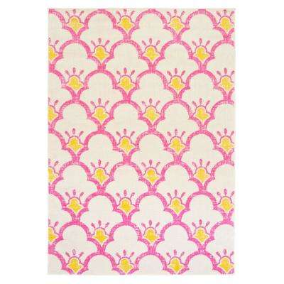 Whimsical Cream/Pink 5 ft. x 7 ft. Indoor Area Rug
