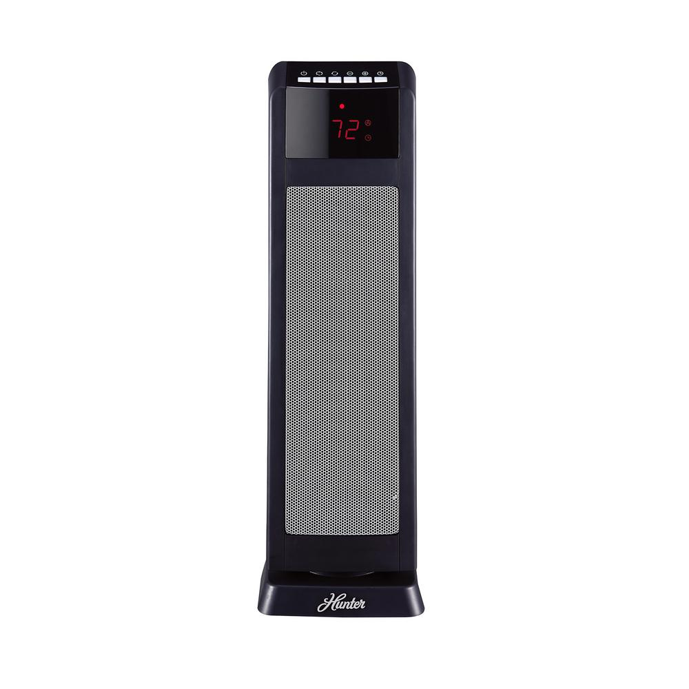 Hunter Hunter 24 in. 1500-Watt Digital Ceramic Tower Heater with Remote Control, Black