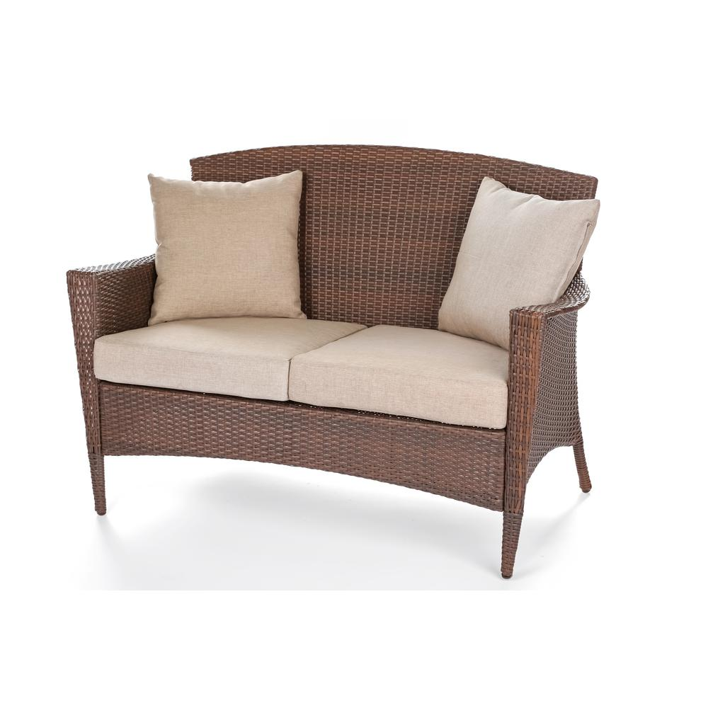 W Unlimited Galleon Collection Wicker Outdoor Patio Loveseat with Light Brown Cushions