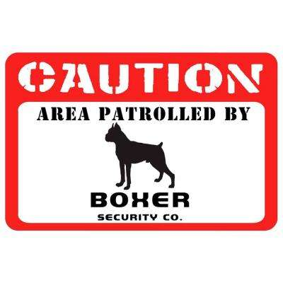 Printed Caution: Boxer 17.5 in. x 26.5 in. Pet Mat