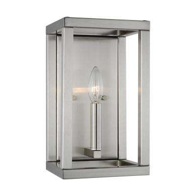Moffet Street 7 in. 1-Light Brushed Nickel Sconce with LED Bulbwith Dimmable Candelabra LED Bulb
