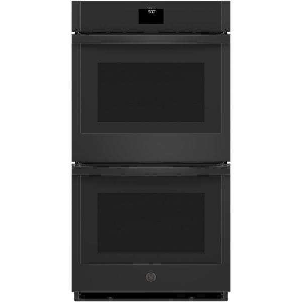 27 in. Smart Double Electric Wall Oven with Convection (Upper Oven) Self-Cleaning in Black