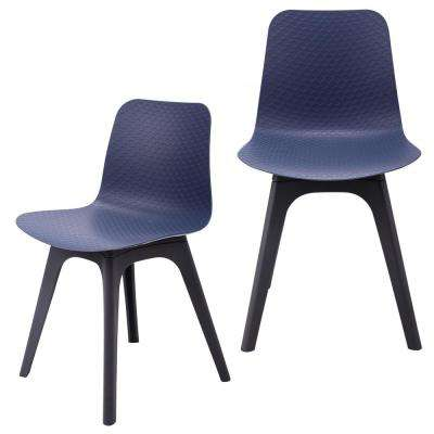 Hebe Series Navy Dining Shell Side Chair Molded Plastic with Modern Black Legs (Set of 2)
