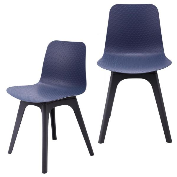 CozyBlock Hebe Series Navy Dining Shell Side Chair Molded Plastic with