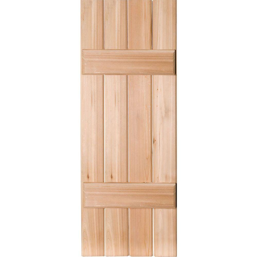 300 400 Cedar Board Batten Exterior Shutters The Home Depot
