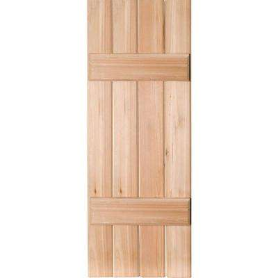 15 in. x 55 in. Exterior Real Wood Pine Board & Batten Shutters Pair Unfinished