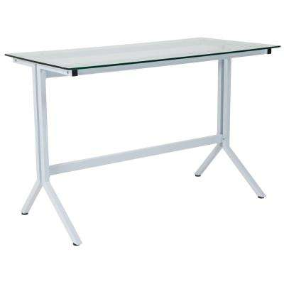 Winfield Collection Glass Computer Desk with White Metal Frame