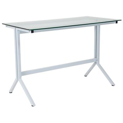 43.3 in. Rectangular White Computer Desks with Glass Top