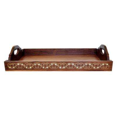 Wooden Brown Serving Tray with Brass Inlay Work