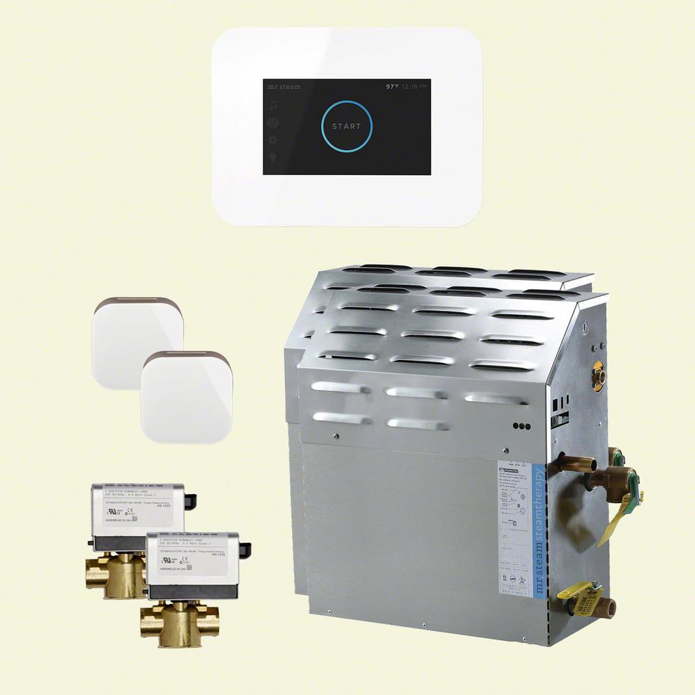 30kW Steam Bath Generator with iSteam3 AutoFlush in White (2-Pack)