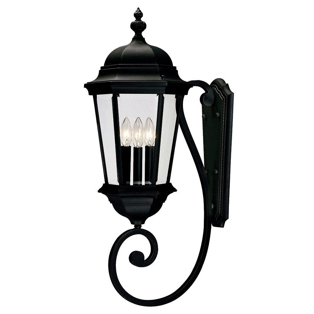 Satin 3-Light Outdoor Textured Black Wall Lantern