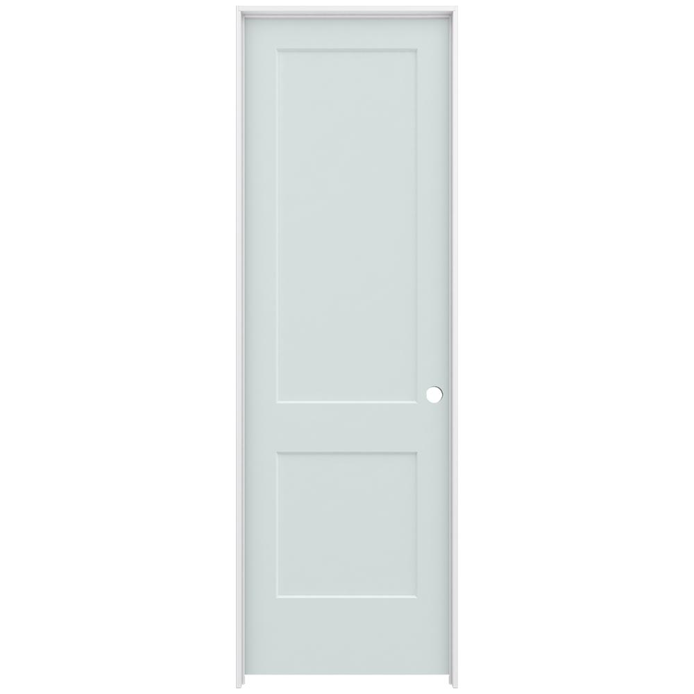 JELD-WEN 30 in. x 96 in. Monroe Light Gray Painted Left-Hand Smooth Solid Core Molded Composite MDF Single Prehung Interior Door