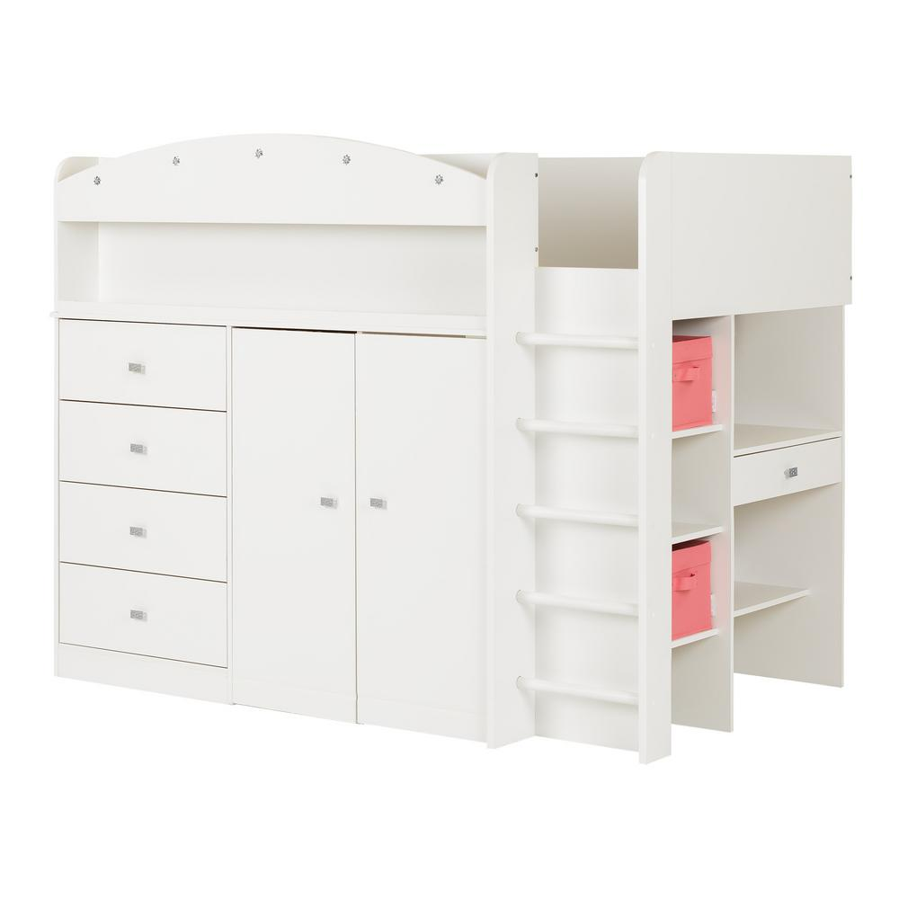 South S Tiara 4 Drawer Pure White Twin Size Loft Bed