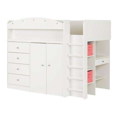 Tiara 4-Drawer Pure White Twin-Size Loft Bed