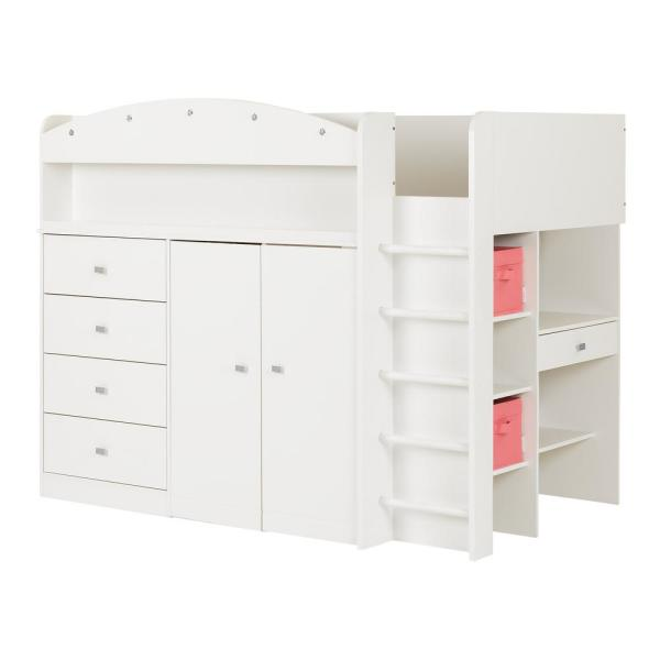 South Shore Tiara 4-Drawer Pure White Twin-Size Loft Bed