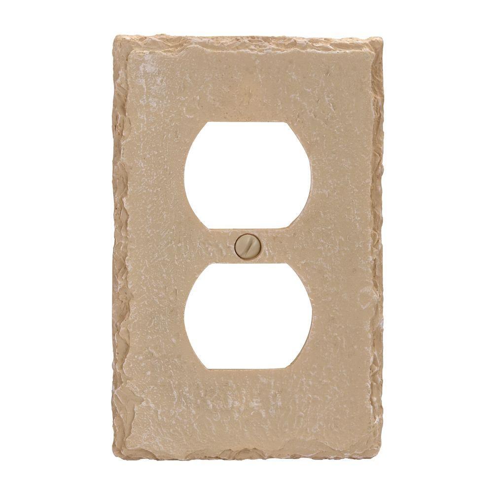 Faux Slate Resin 1 Duplex Wall Plate - Almond
