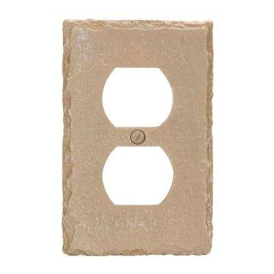 Faux Slate Resin 1 Duplex Wall Plate - Almond