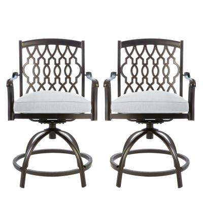 Ridge Falls Swivel Aluminum Outdoor Bar Stool with Cushions Included, Choose Your Own Color (2-Pack)