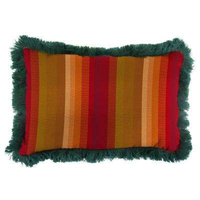 Sunbrella 19 in. x 12 in. Astoria Sunset Outdoor Throw Pillow with Forest Green Fringe