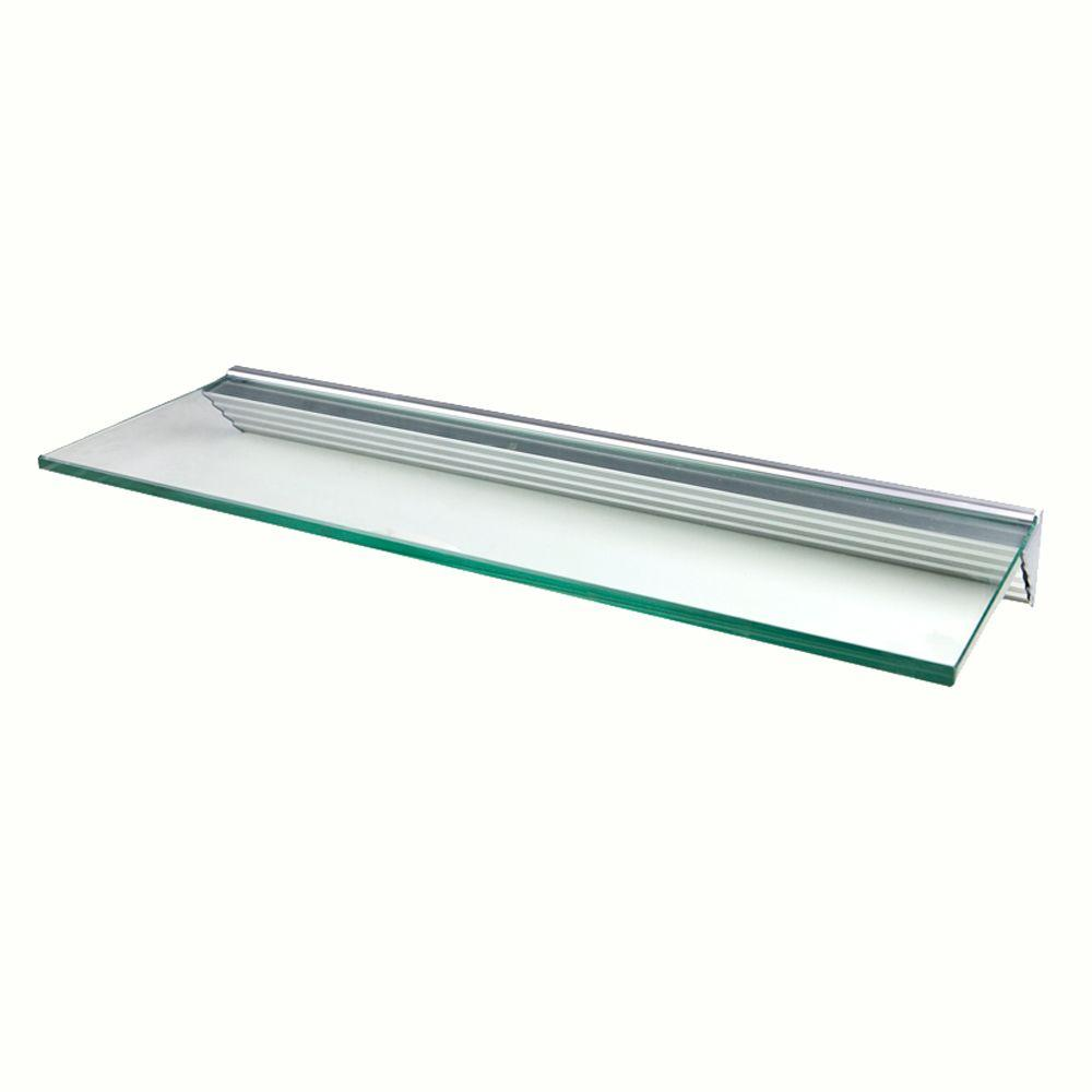 Wallscapes Glacier Clear Glass Shelf with Silver Bracket Shelf Kit (Price Varies By Size)
