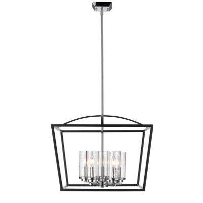 Mercer 5-Light Black Chandelier with Seeded Glass Shade