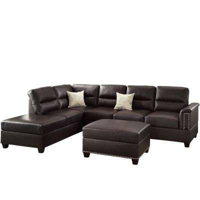 Naples 2-Piece Espresso Faux Leather 6-Seater L-Shaped Sectional Sofa with Ottoman