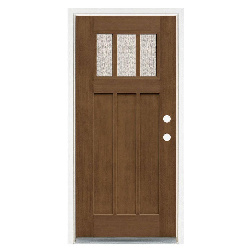 36 in. x 80 in. Medium Oak Left-Hand Inswing 3 Lite Water Wave Craftsman Stained Fiberglass Prehung Front Door