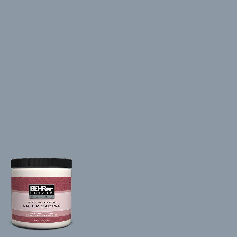 BEHR Premium Plus Ultra 8 oz. #N490-4 Teton Blue Interior/Exterior Paint Sample