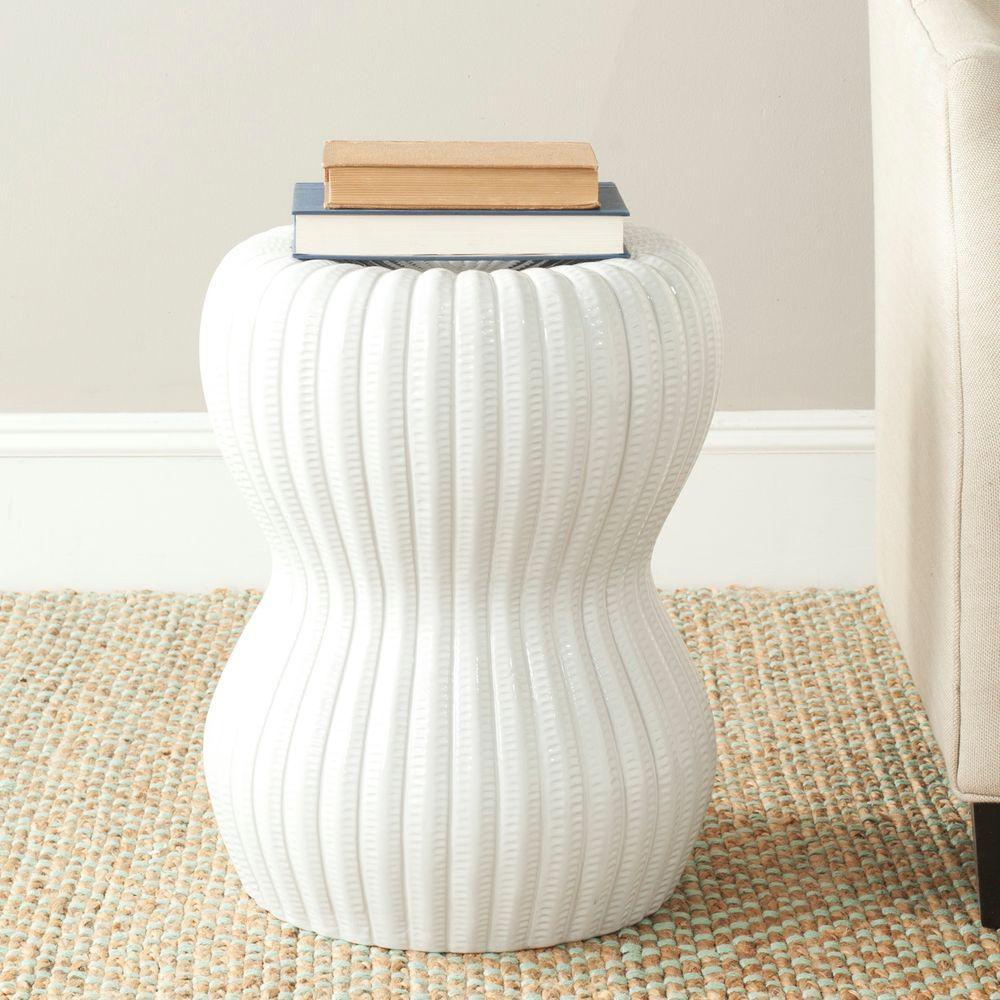Hour Glass White Ceramic Garden Stool