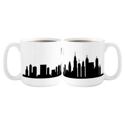 New York City Skyline 20 oz. White Ceramic Coffee Mugs (Set of 2)