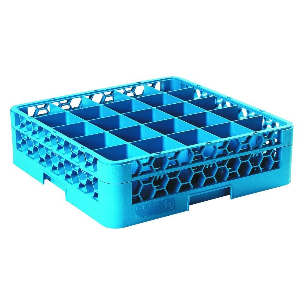 Carlisle 19.75x19.75 in. 25-Compartment 1 Extender Glass Rack (for Glass 3.25 in. Diameter, 4.75 in. H) in Blue (Case of 4)