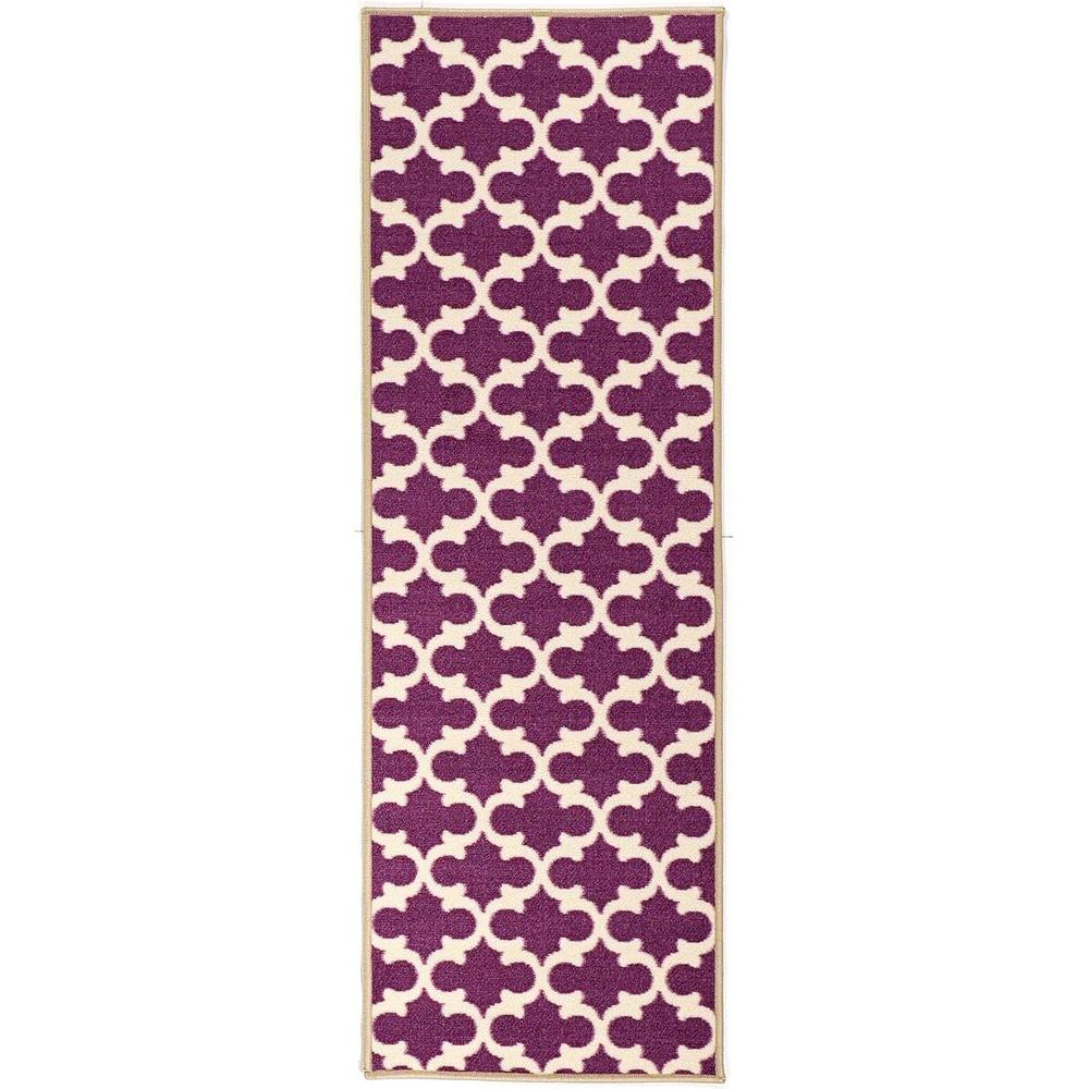 Rug Runner Purple: Ottomanson Pink Collection Contemporary Moroccan Trellis