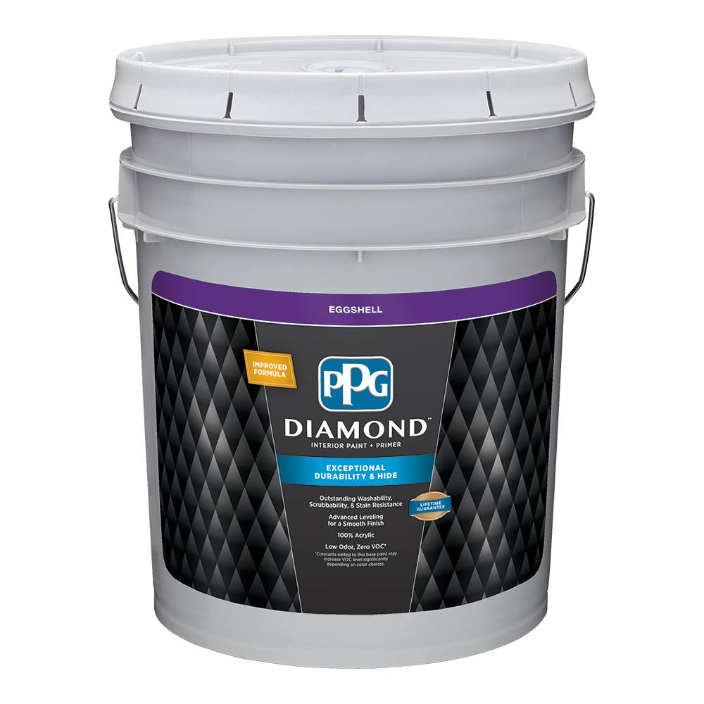 Beau PPG Diamond 5 Gal. Pure White Eggshell Interior Paint And Primer