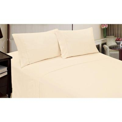 Jill Morgan Fashion Solid Ivory Microfiber Queen Sheet Set (4-Piece)